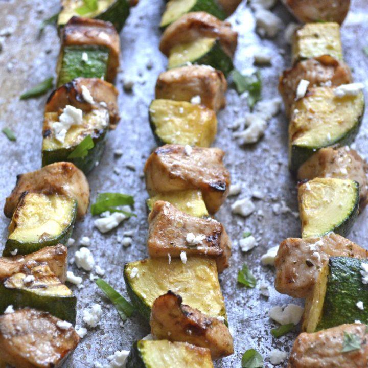 Balsamic Vinegar Grilled Chicken and Zucchini Skewers