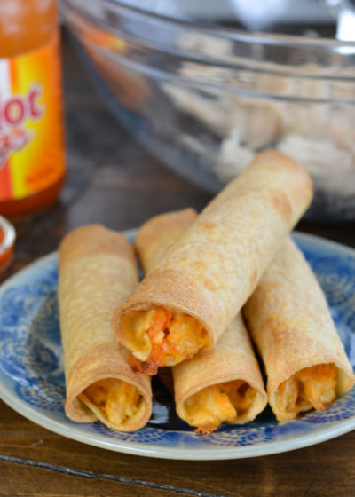 These 6-ingredient Buffalo Chicken Taquitos make an excellent, super-filling snack or dinner! Start with cooked, shredded chicken to have them ready in 30 minutes!