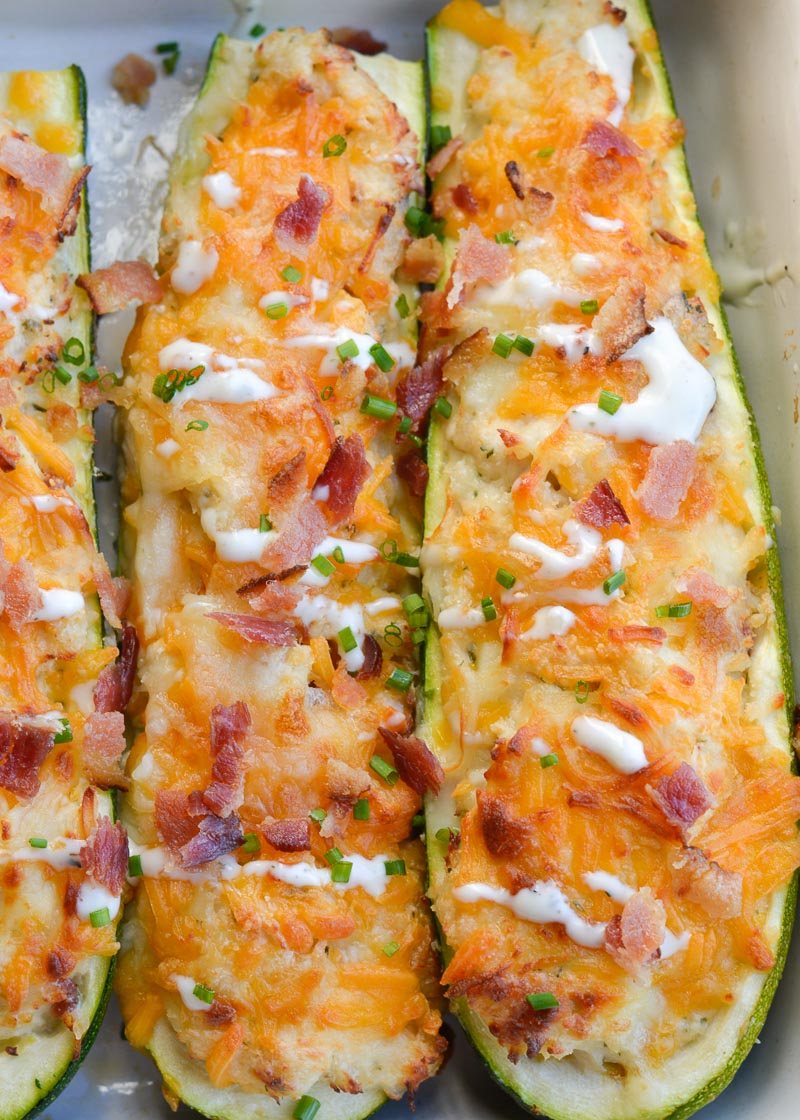 These Chicken Bacon Ranch Zucchini Boats are loaded with tender chicken, crispy bacon and loads of cheese! Each zucchini boat is just 2.5 net carbs each making it the perfect keto dinner!