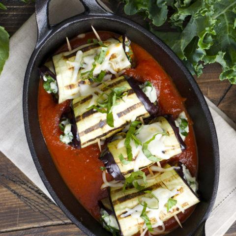 Roasted Garlic Ranch Eggplant Rolls