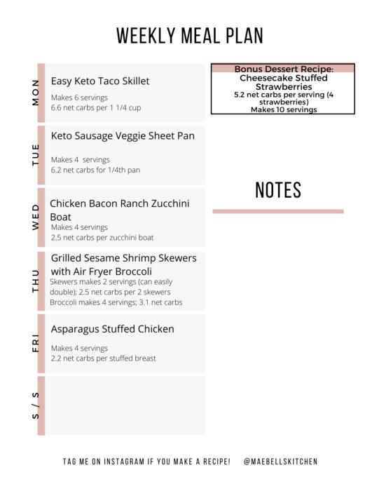 Easy Keto Meal Plan Week 12