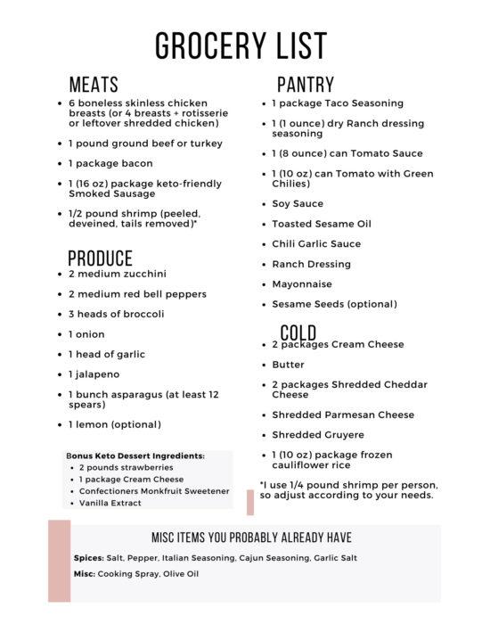 Easy Keto Meal Plan Week 12 Shopping List
