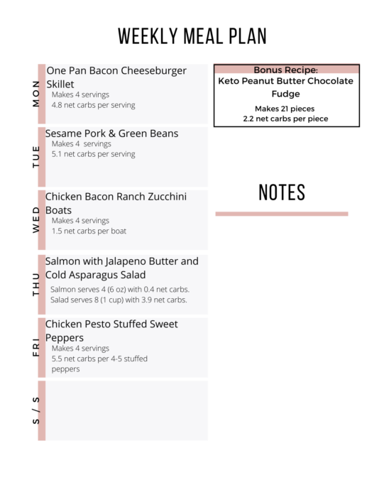 Week 14 of Easy Keto Meal Plan features 5 dinners and a bonus dessert!