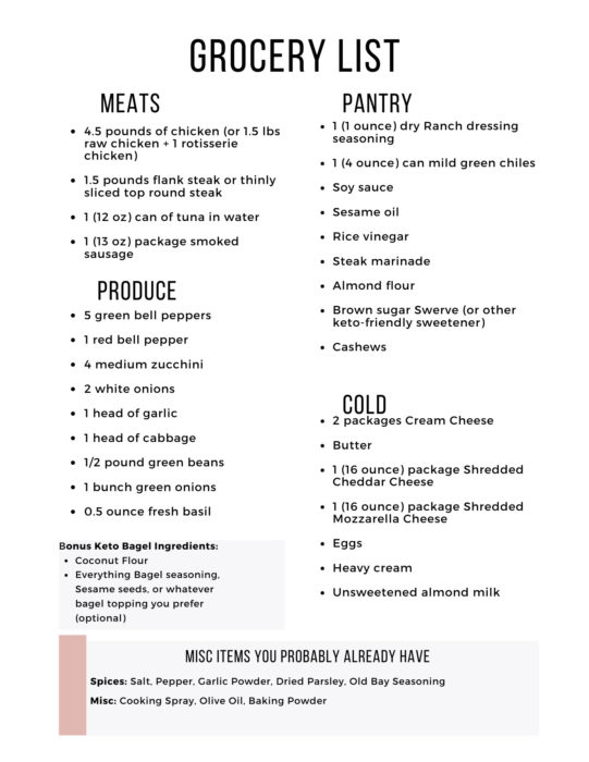 Easy Keto Meal Plan includes a printable grocery shopping list to make your life easier!