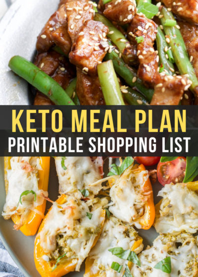 Week 14 of Easy Keto Meal Plan includes low carb Sesame Pork and Green Beans as well as Chicken Pesto Stuffed Sweet Peppers!