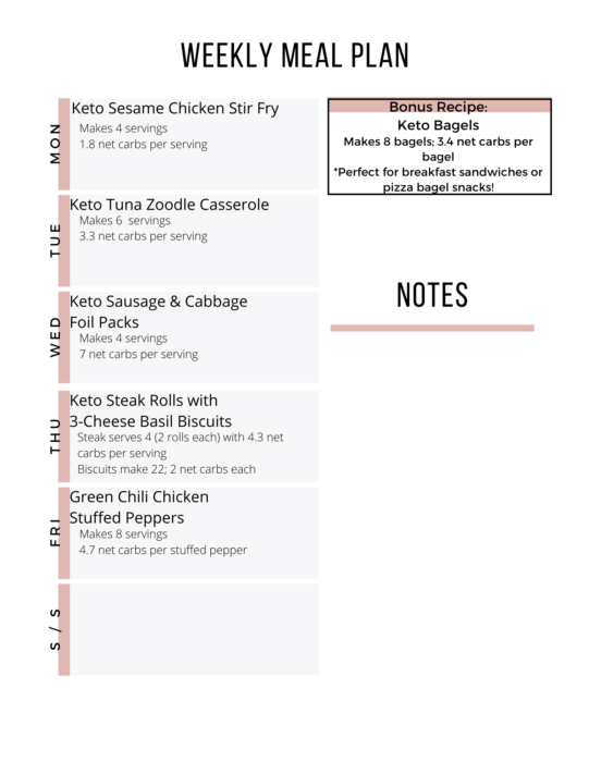 Here is the printable day-by-day Easy Keto Meal Plan for Week 13.