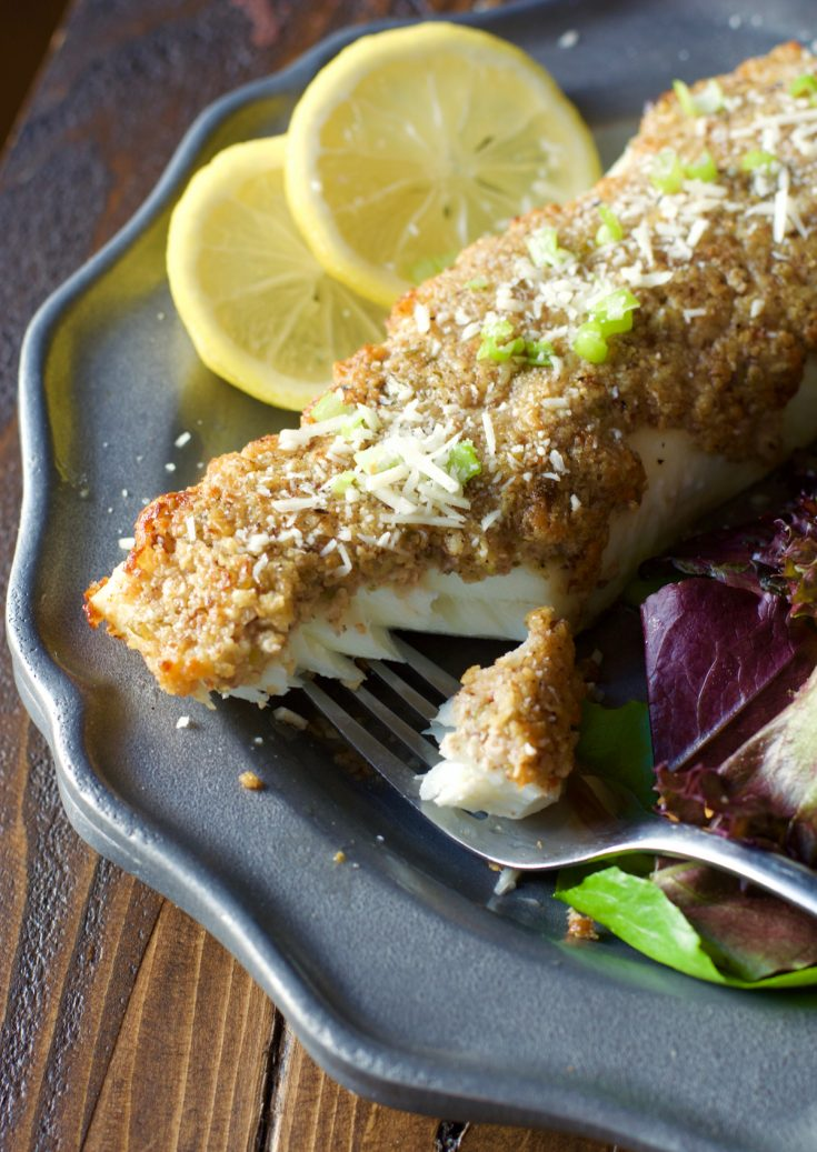 Try this Baked Parmesan Crusted Halibut for a low-carb, keto dinner ready in just 20 minutes! This easy seafood dish is just 3 net carbs per serving!