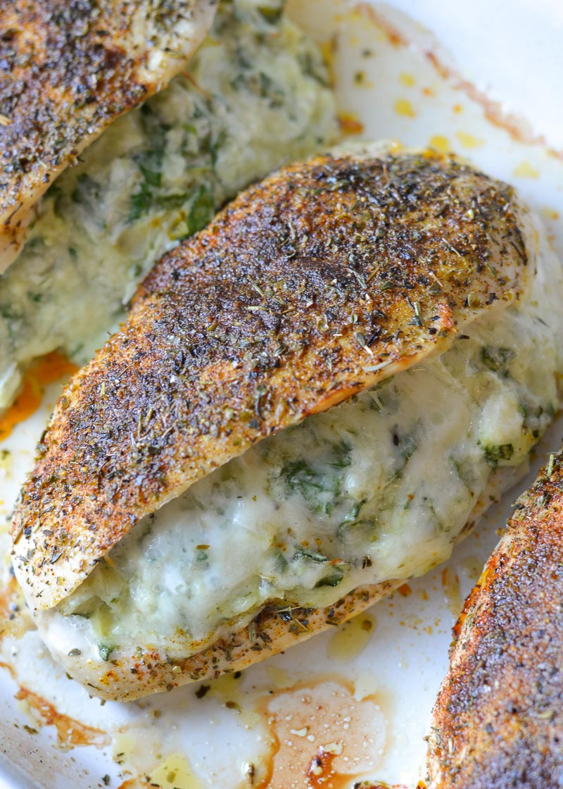 This low-carb Spinach Artichoke Stuffed Chicken is a keto 30-minute dinner dream! It's super juicy and mega flavorful–Even better, it all cooks in one pan for easy cleanup!