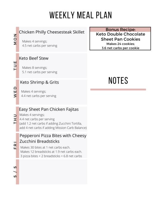 Week 19 Keto Meal Plan