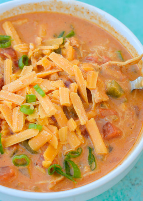 This low-carb soup is going to be a big hit! Chicken Enchilada Soup can be made in the Instant Pot, in a slow cooker, or on the stove!