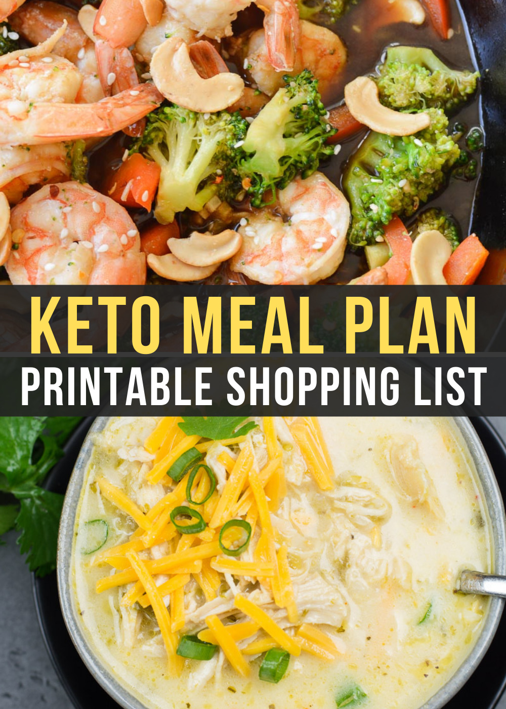 This week's Easy Keto Meal Plan includes 5 EASY low-carb meals plus a keto-friendly meal prep breakfast! This guide is complete with net carb counts and a printable shopping list.