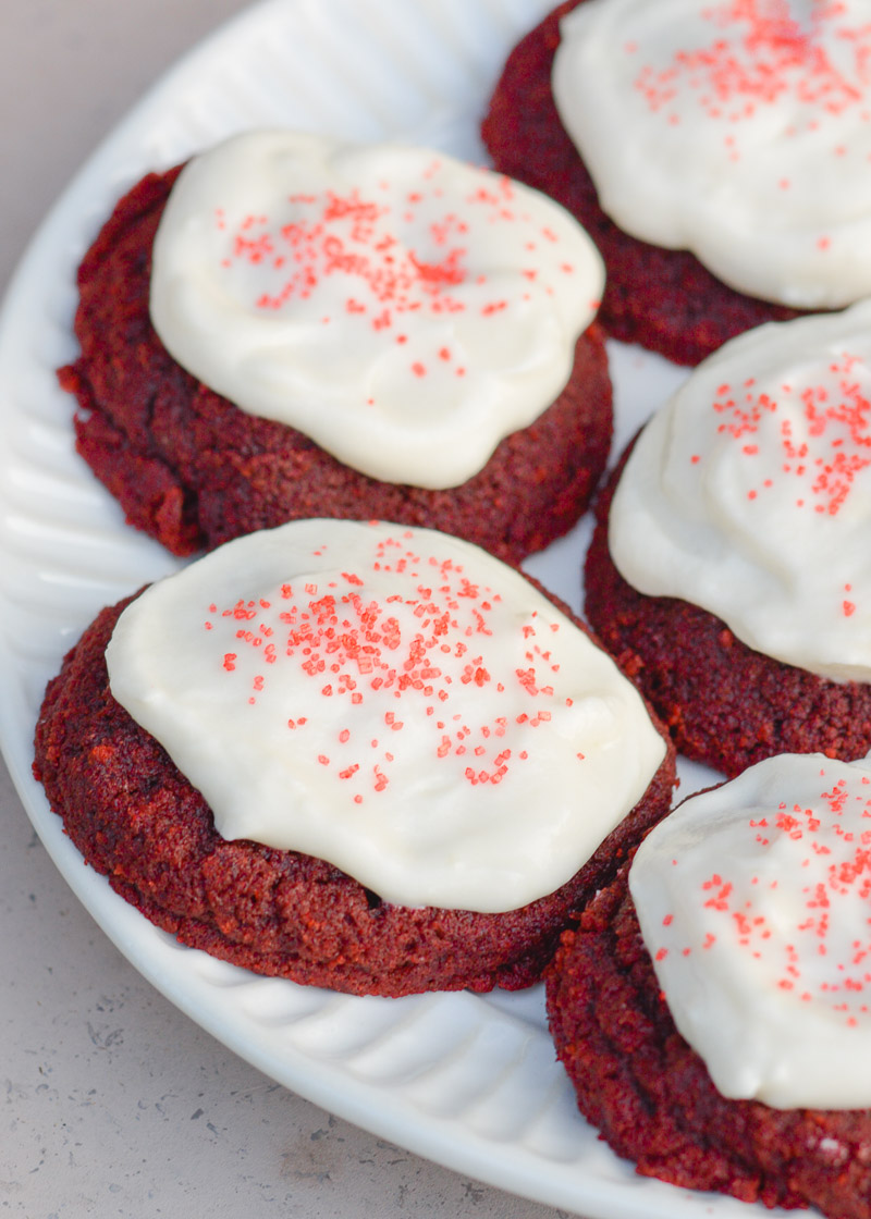 These soft and chewy Keto Red Velvet Cookies have a hint of cocoa and are covered with a low carb cream cheese frosting! Each sugar free cookie has less than 3 net carbs each!