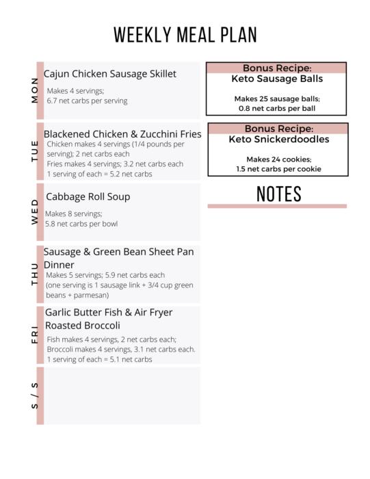 Week 21 Easy Keto Meal Plan