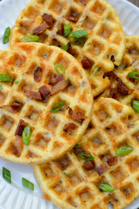 These low-carb Bacon Cheddar Chaffles are the perfect savory keto breakfast, lunch, or snack! Easy to meal prep and about 2 net carbs each!