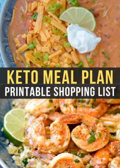 Week 23 of the Easy Keto Meal Plan includes delicious keto-friendly dinners like Cilantro Lime Shrimp and Cauliflower Rice as well as the low carb Cheesy Chicken Enchilada Soup!