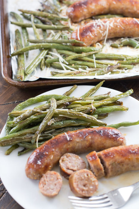 This Sausage and Green Bean Sheet Pan Dinner is ready in 30 minutes, requires no prep and is less than 6 net carbs per serving! This will be your new favorite easy keto dinner recipe!